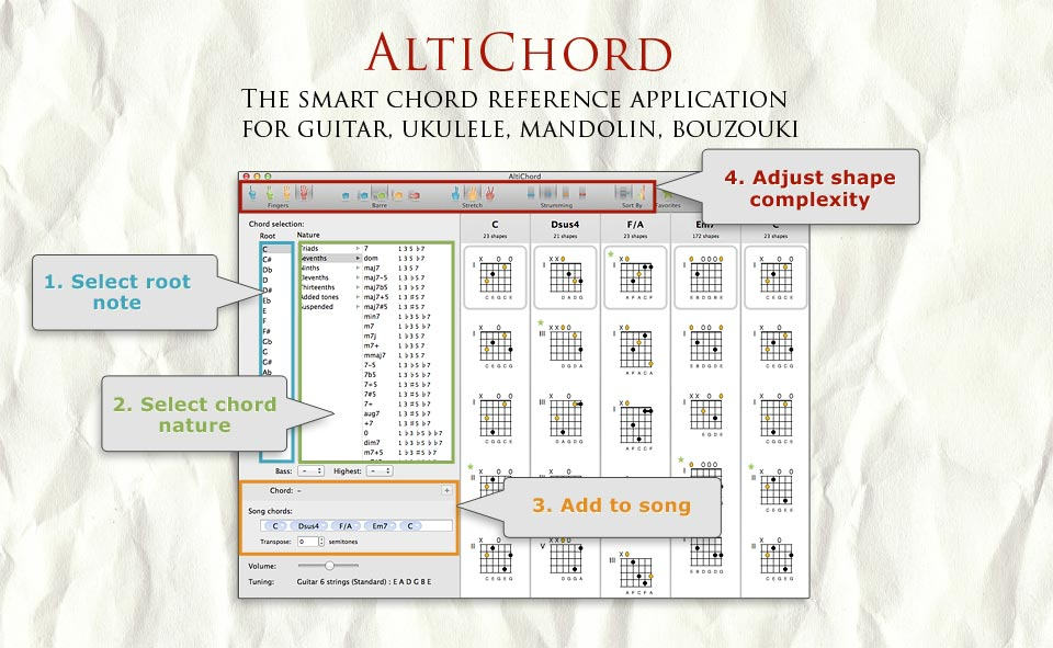 Altichord For Mac Chord Charts For Guitar Ukulele Mandolin